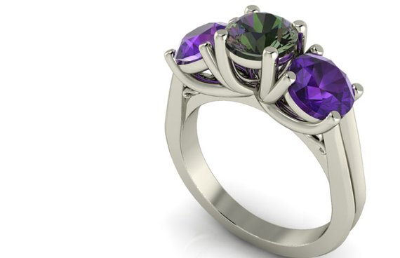 Three Stone Ring with color alexandrite and amethyst
