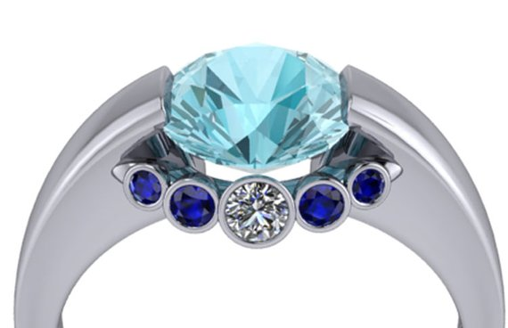 Blue topaz ring with necklace bridge