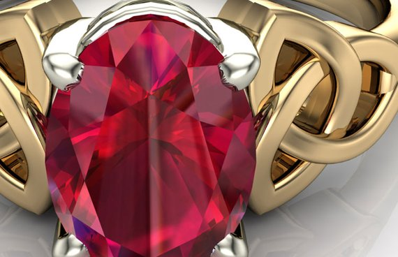 Ruby Ring with Celtic design
