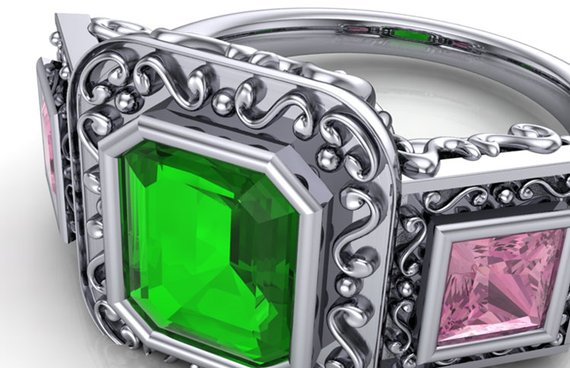 Green and pink tourmaline statement ring iso view