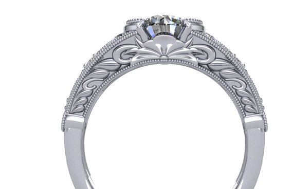 design detail on side of half bezel diamond ring