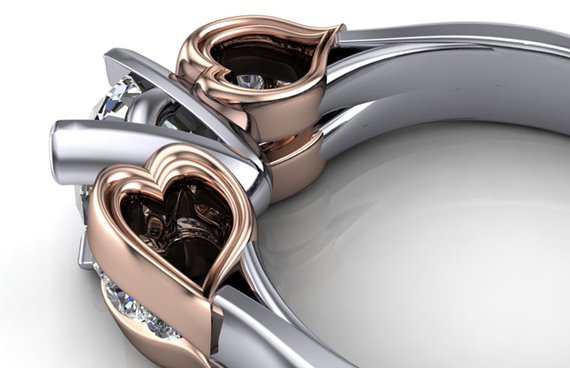 Rose gold heart detail angled