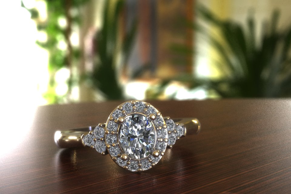 Oval halo with trio diamond accents