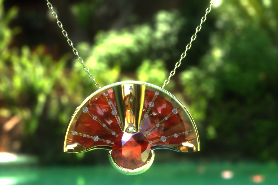 Front view of parabolic pendant